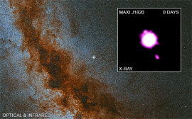 「MAXI J1820+070」の位置と撮影されたジェット。(c) X-ray: NASA/CXC/Université de Paris/M. Espinasse et al.; Optical/IR:PanSTARRS